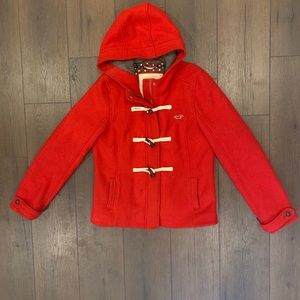 Hollister Women's Red Wool Toggle Coat